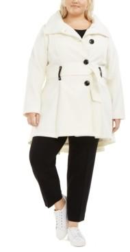 Madden-Girl Juniors' Plus Size Skirted Belted Coat