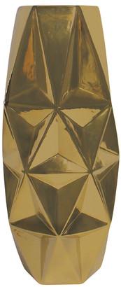 Uma Enterprises Uma Coated Gold With Recessed Triangular Pattern Ceramic Urn Vase