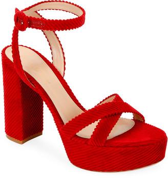 Gianvito Rossi Corduroy Block-Heel Platform Sandals