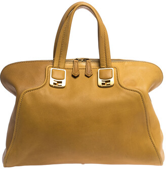 Fendi Mustard/Brown Leather Chameleon Satchel