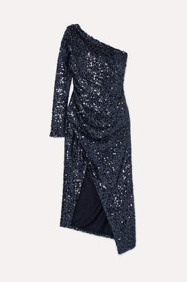 Galvan Mamounia One-shoulder Sequinned Tulle Dress - Midnight blue