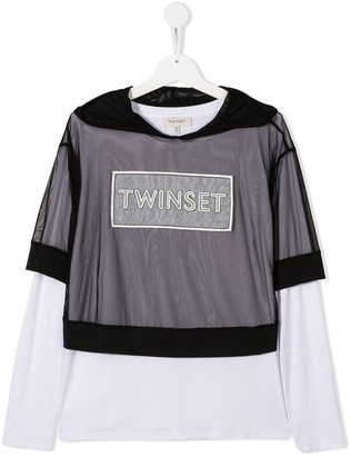 Twin-Set TEEN tulle overlay T-shirt