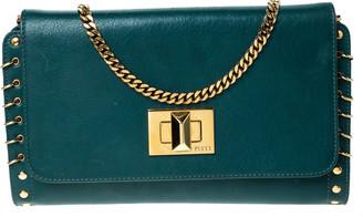 Emilio Pucci Turquoise Leather Chain Shoulder Bag