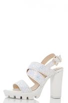 Quiz White Glitter Multi Strap Chunky Sandals
