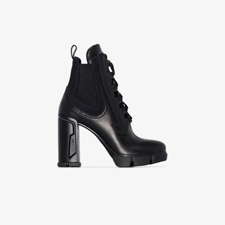 Prada Womens Black 110 Lace-up Military Leather Ankle Boots