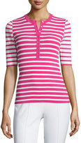 Michael Kors Short-Sleeve Mixed-Stripe Henley Tee, Geranium