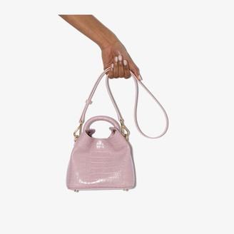 Elleme pink Madeleine mock croc leather cross body bag