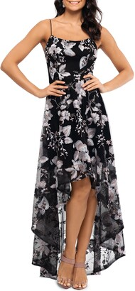 Xscape Evenings Floral Embroidery High/Low Gown Dress