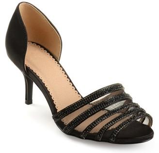 Brinley Co. Womens Salem Satin D'orsay Peep-toe Rhinestone High Heels