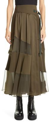 Sacai Mesh Panel Maxi Wrap Skirt