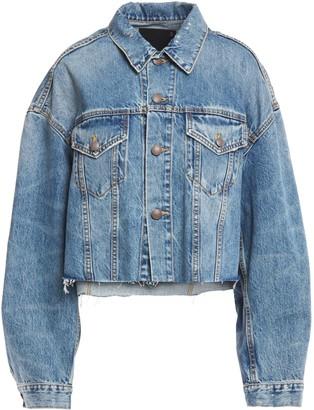 R 13 Cropped Distressed Denim Jacket