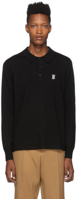 Burberry Black Merino Monogram Douglas Polo