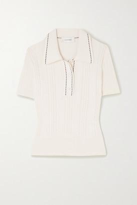 Wales Bonner Pointelle-knit Cotton Polo Shirt - Ivory