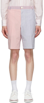 Thom Browne Red and Navy Seersucker Striped Unconstructed Shorts