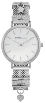BCBGeneration Ladies 2 Hands Slim Silver-Tone Mesh Watch, 34 mm Case