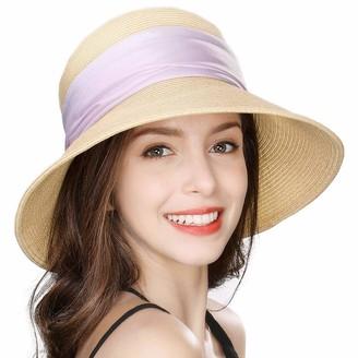 Cloche Jeff & Aimy Ladies Straw Sun Hat Wide Brim UV Protection Foldable Panama Fedora Summer Beach Accessories Fashion Sunhat 56-58CM Beige