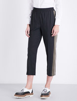 Brunello Cucinelli Stripled-detail tappered cropped wool-blend trousers