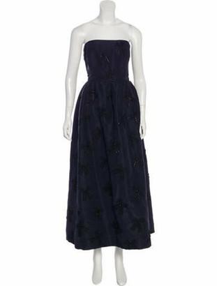 Oscar de la Renta Strapless Embellished Gown Navy