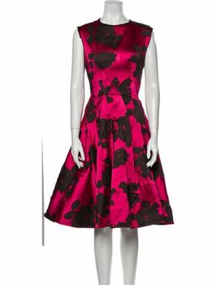 Lanvin Floral Print Midi Length Dress Pink
