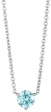 Lightbox Jewelry Lab-Grown Blue Diamond Solitaire Pendant Necklace in Sterling Silver, 0.75 ct. t.w, 16-18