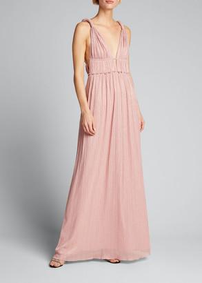 Jonathan Simkhai Camille Lame Plisse Keyhole Goddess Gown