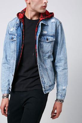Forever 21 Plaid-Hooded Distressed Denim Jacket