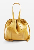 Topshop Premium Leather Drawstring Tote Bag