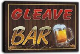 AdvPro Canvas scw3-032796 GLEAVE Name Home Bar Pub Beer Mugs Stretched Canvas Print Sign