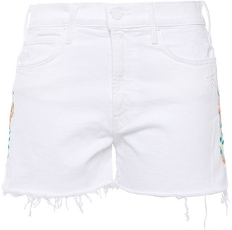 Mother The Dutchie Embroidered Distressed Denim Shorts