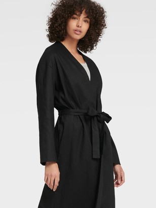 DKNY Women's Long-line Open-front Cardigan - Black - Size XS