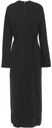 MM6 MAISON MARGIELA Wrap-effect Layered Satin And Wool Midi Dress