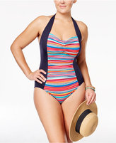 Anne Cole Plus Size Striped Halter One-Piece Swimsuit