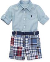 Ralph Lauren Chambray Shirt w/ Patchwork Shorts, Size 9-24 Months