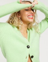 And other stories & fluffy ribbed cardigan in apple green