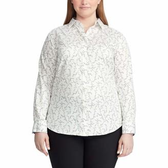 Chaps Women's Plus Size Long Sleeve Non Iron Cotton Sateen-Shirt
