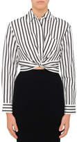 Alexander Wang Striped Cotton Twist Front Crop Long Sleeve Shirt