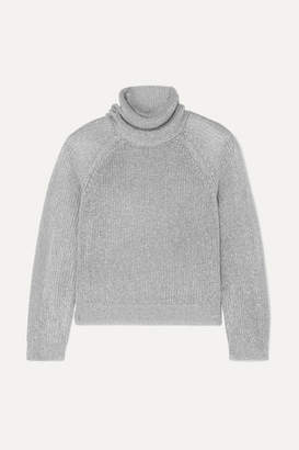RtA Mick Metallic Knitted Turtleneck Sweater - Silver