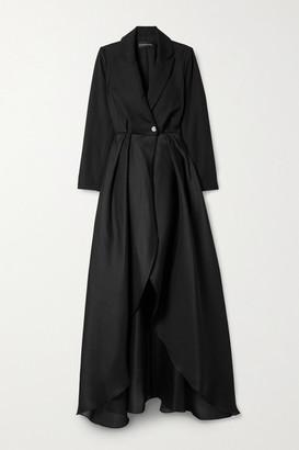 Brandon Maxwell Pleated Wool-twill And Silk-organza Coat - Black