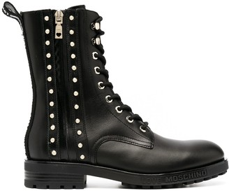 Love Moschino Studded Lace-Up Ankle Boots