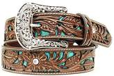 Ariat Women's Blue Inlay Floral Bling Belt
