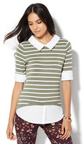 New York & Co. Crewneck Twofer Sweater - Stripe