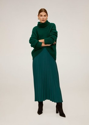 MANGO Pleated long skirt emerald green - XL - Women