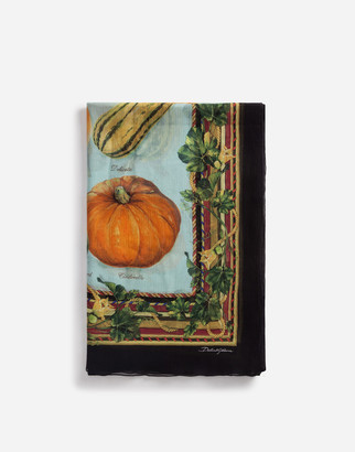 Dolce & Gabbana Scarf In Crepon With Pumpkin Print: 120 X 200cm- 47 X 78 Inches