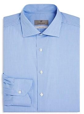 Canali Grid Check Regular Fit Dress Shirt