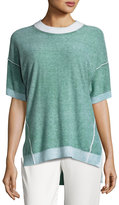 DKNY Short-Sleeve Reversible Cashmere Sweater, Verdigris