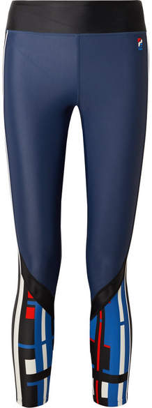 P.E Nation The Bowl Out Striped Stretch Leggings - Storm blue