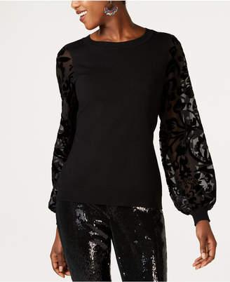 INC International Concepts Inc Velvet Burnout-Sleeve Sweater