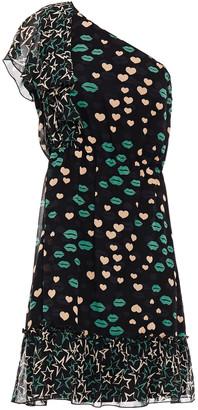 Anna Sui One-shoulder Paneled Printed Silk-chiffon Mini Dress