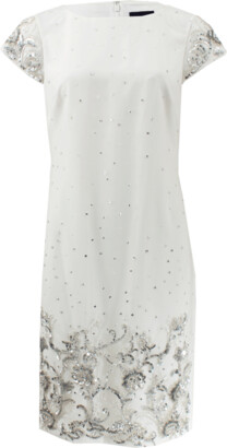 Marchesa Notte Beaded Shift Cocktail Dress