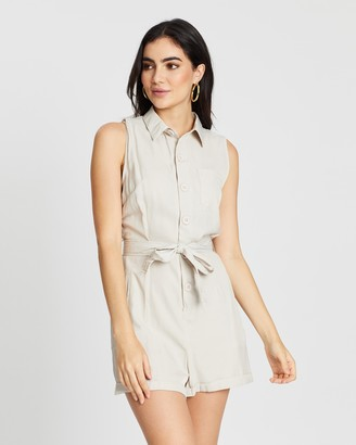 boohoo Button Through Turn Up Playsuit